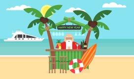 Fondo di estate - spiaggia soleggiata Buon Natale e nuovo anno Mare, yacht, palma e barista sveglio Santa moderno Immagini Stock Libere da Diritti
