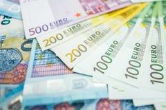 Fondo di euro fatture Fuoco poco profondo Immagini Stock