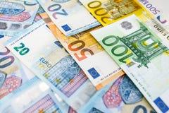 Fondo di euro fatture Fuoco poco profondo Fotografia Stock