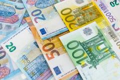 Fondo di euro fatture Fuoco poco profondo Fotografia Stock Libera da Diritti