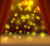 Fondo di fase di vettore, punti luminosi magici, effetto di lustro, tende del teatro illustrazione vettoriale