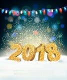 Fondo di festa con 2018 e ghirlanda Fotografia Stock