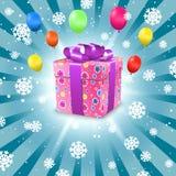 Fondo di festa con i fiocchi di neve, il contenitore di regalo ed i palloni Illustrazione di vettore Immagini Stock Libere da Diritti