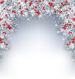 Fondo di festa con i ramoscelli e Holly Berries dell'abete bianco Fotografie Stock