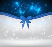 Fondo di festa con il nastro blu dell'arco Fotografie Stock
