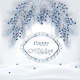 Fondo di festa con l'albero di Natale ed i mirtilli illustrazione di stock