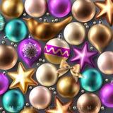 Fondo di festa con le decorazioni di Natale Fotografia Stock