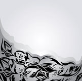 Fondo di festa in d'argento ed in grigio, con gli ornamenti floreali neri Fotografie Stock Libere da Diritti