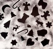 Fondo di festa del nuovo anno con i disegni con farina Fotografie Stock Libere da Diritti