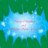 Fondo di festa di Natale con l'albero ed i fiocchi di neve di abete Fotografie Stock Libere da Diritti