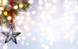 Fondo di festa di natale di arte; luce dell'albero Immagine Stock