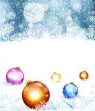 Fondo di festa di vettore con le palle ed il fiocco di neve Fotografia Stock
