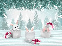 Fondo di festa di Natale con tre conigli bianchi adorabili immagini stock