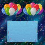 Fondo di festa, palloni con carta Immagini Stock Libere da Diritti