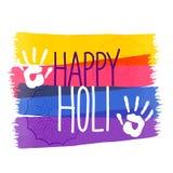 Fondo di festival di colori di Holi con l'impressione della mano illustrazione vettoriale