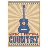 Fondo di festival di musica country con testo Vettore sopra Immagine Stock