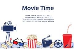 Fondo di film con gli attributi del cinema Reticolo senza giunte illustrazione vettoriale