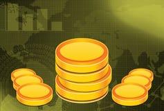 Fondo di finanza e di affari con le monete di oro Fotografie Stock