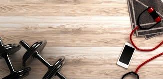 Fondo di forma fisica con le teste di legno e lo smartphone Vista da sopra Fotografie Stock Libere da Diritti