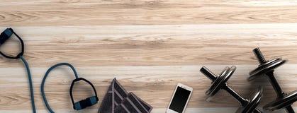 Fondo di forma fisica con le teste di legno e lo smartphone Vista da sopra Immagini Stock