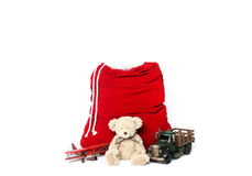 Fondo di fotografia digitale di Santa Christmas Holiday Bag isolata fotografia stock