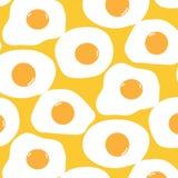 Fondo di Fried Egg Pattern With Yellow illustrazione vettoriale