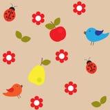 Fondo di frutta, dei fiori e degli uccelli illustrazione di stock