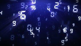 Fondo di galleggiamento di numero Fondo tecnologico di tecnologia Animazione di numeri astratti illustrazione di stock