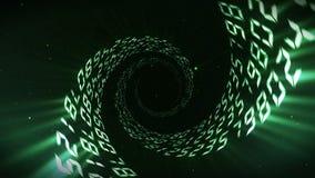 Fondo di galleggiamento di numero Tunnel illuminato dei numeri I numeri astratti avvolgono l'animazione illustrazione vettoriale