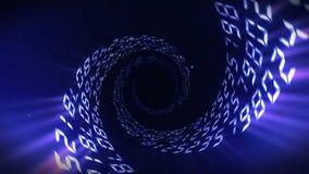 Fondo di galleggiamento di numero Tunnel illuminato dei numeri I numeri astratti avvolgono l'animazione illustrazione di stock