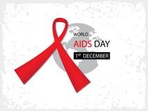 Fondo di Giornata mondiale contro l'AIDS con il nastro rosso sull'icona del mondo Immagine Stock