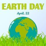 Fondo di giornata per la Terra del mondo con il globo in erba nello stile del fumetto Alfabetizzazione di clima ed ambientale Ill royalty illustrazione gratis