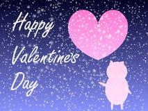 Fondo di giorno di amore Porcellino del ute del ¡ di Ð piccolo Cuore rosa Fondo di giorno di biglietti di S ENV 10 royalty illustrazione gratis