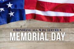 Fondo di Giorno dei Caduti con la bandiera americana Fotografie Stock Libere da Diritti