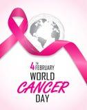 Fondo di giorno del cancro del mondo il 4 febbraio Fotografia Stock