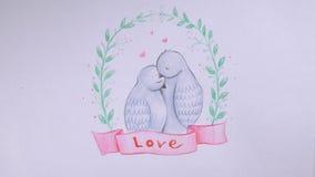 Fondo di giorno del ` s del biglietto di S Piccioni adorabili, abbraccio delle colombe Concetto di amore illustrazione di stock