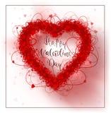 Fondo di giorno del ` s del biglietto di S. Valentino della struttura dei cuori Fotografie Stock