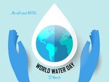 Fondo di giorno dell'acqua del mondo illustrazione di stock