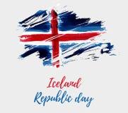 Fondo di giorno della Repubblica dell'Islanda Fotografia Stock