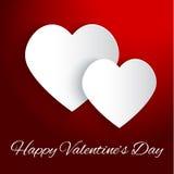 Fondo di giorno di biglietti di S. Valentino con due cuori Immagini Stock Libere da Diritti