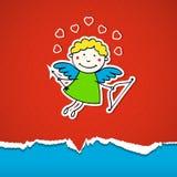 Fondo di giorno di biglietti di S. Valentino con il Cupido Immagine Stock Libera da Diritti