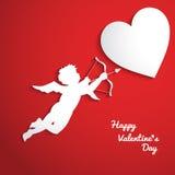 Fondo di giorno di biglietti di S. Valentino con il cupido Fotografia Stock