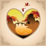 Fondo di giorno di biglietti di S. Valentino con il fondo di Chines Fotografia Stock Libera da Diritti
