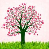 Fondo di giorno di biglietti di S. Valentino con l'albero di amore Immagini Stock Libere da Diritti