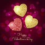 Fondo di giorno di biglietti di S. Valentino con oro e cuori rossi Glit brillante Fotografia Stock Libera da Diritti