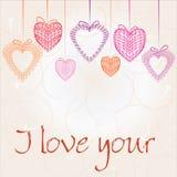 Fondo di giorno di biglietti di S. Valentino con sentito Immagini Stock Libere da Diritti