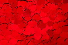 Fondo di giorno di biglietti di S. Valentino dei coriandoli rossi dei cuori Fotografia Stock