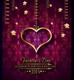 Fondo di giorno di biglietti di S. Valentino per gli inviti della cena Fotografie Stock Libere da Diritti