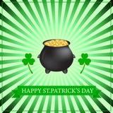 Fondo di giorno di Patricks con il trifoglio e la moneta illustrazione vettoriale