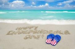 Fondo di giorno di U.S.A. di indipendenza sulla spiaggia Fotografia Stock